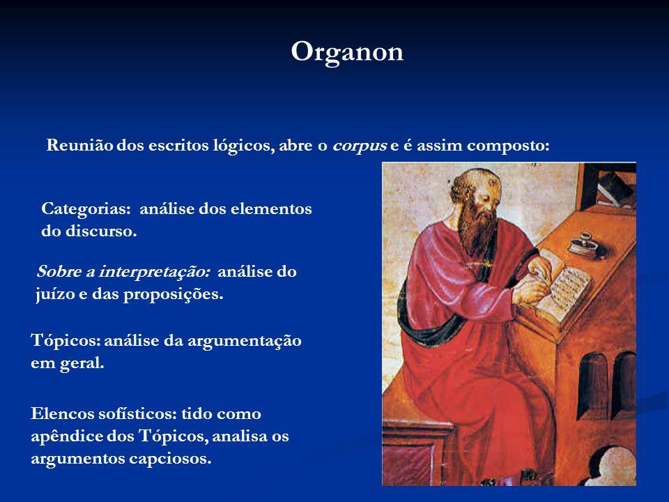Organon Reunião dos escritos lógicos, abre o corpus e é assim composto: Categorias: análise dos elementos do discurso.