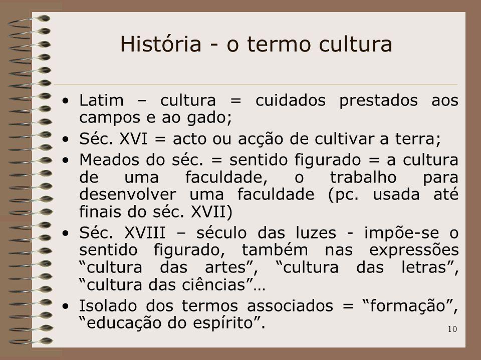 História - o termo cultura