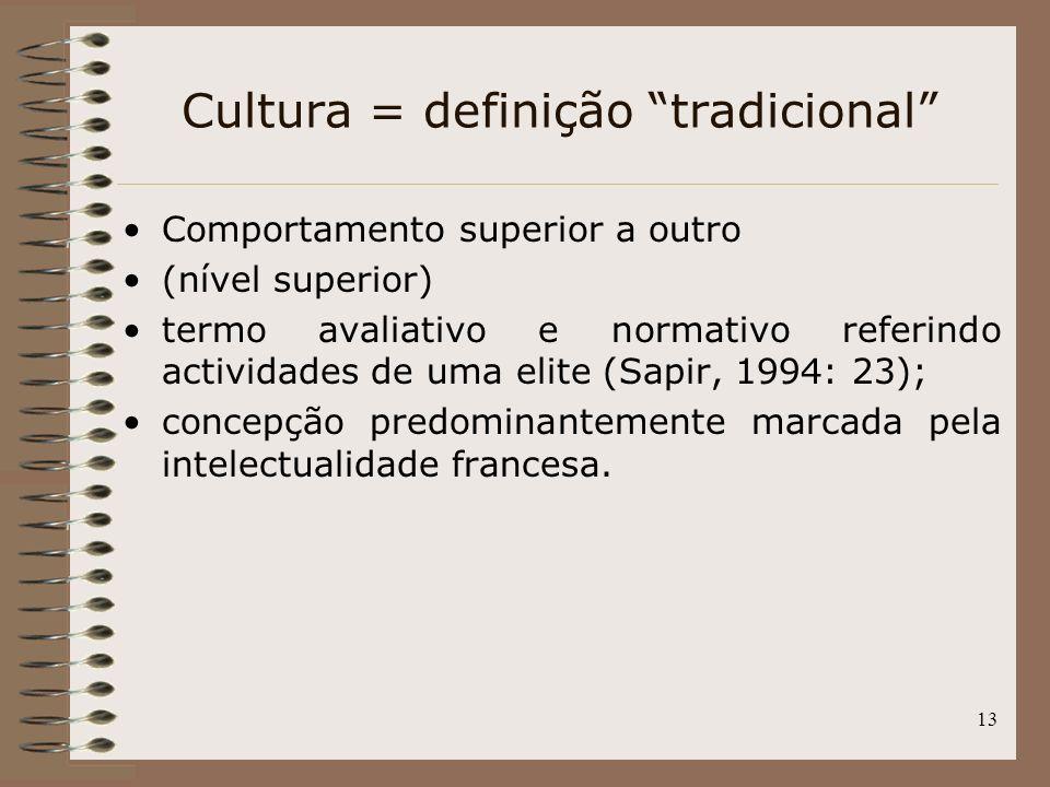 Cultura = definição tradicional