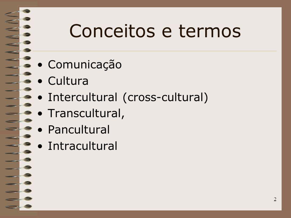 Conceitos e termos Comunicação Cultura Intercultural (cross-cultural)