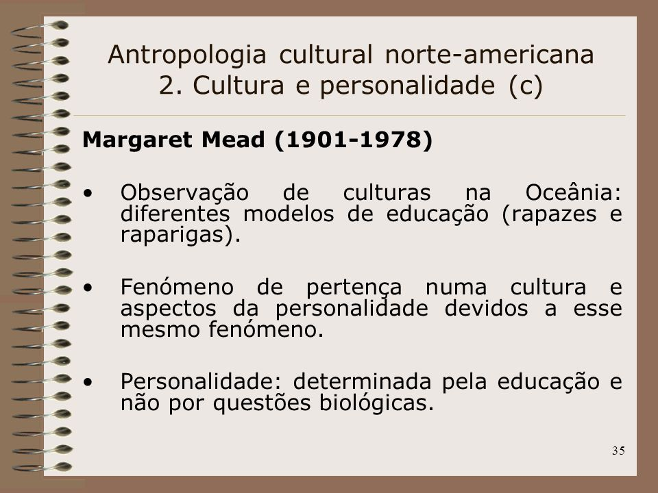 Antropologia cultural norte-americana 2. Cultura e personalidade (c)