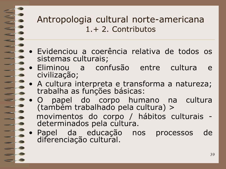 Antropologia cultural norte-americana 1.+ 2. Contributos
