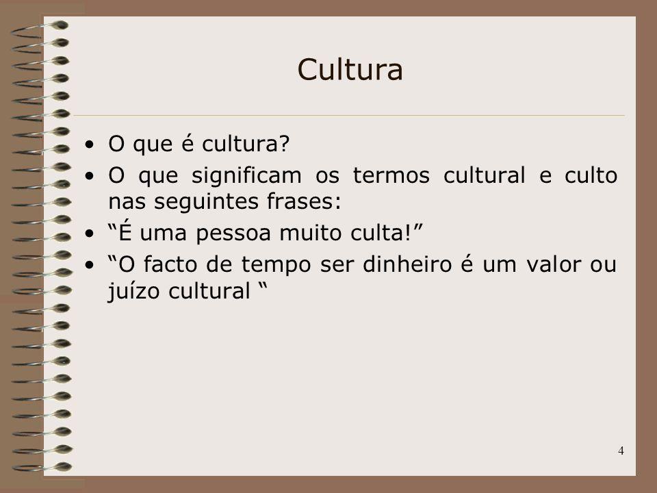 Cultura O que é cultura O que significam os termos cultural e culto nas seguintes frases: É uma pessoa muito culta!