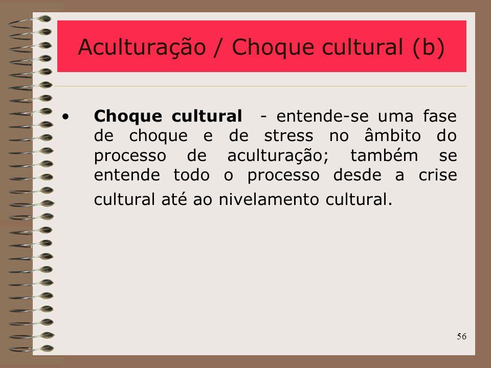 Aculturação / Choque cultural (b)