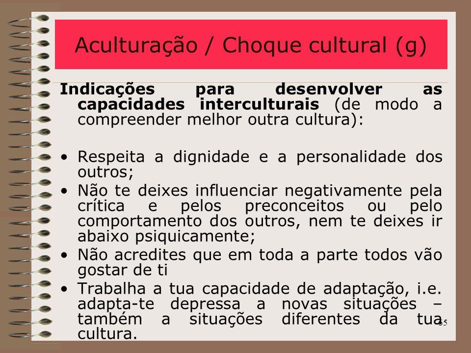 Aculturação / Choque cultural (g)