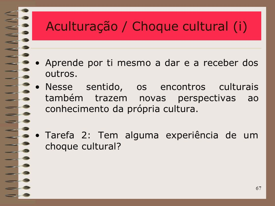 Aculturação / Choque cultural (i)