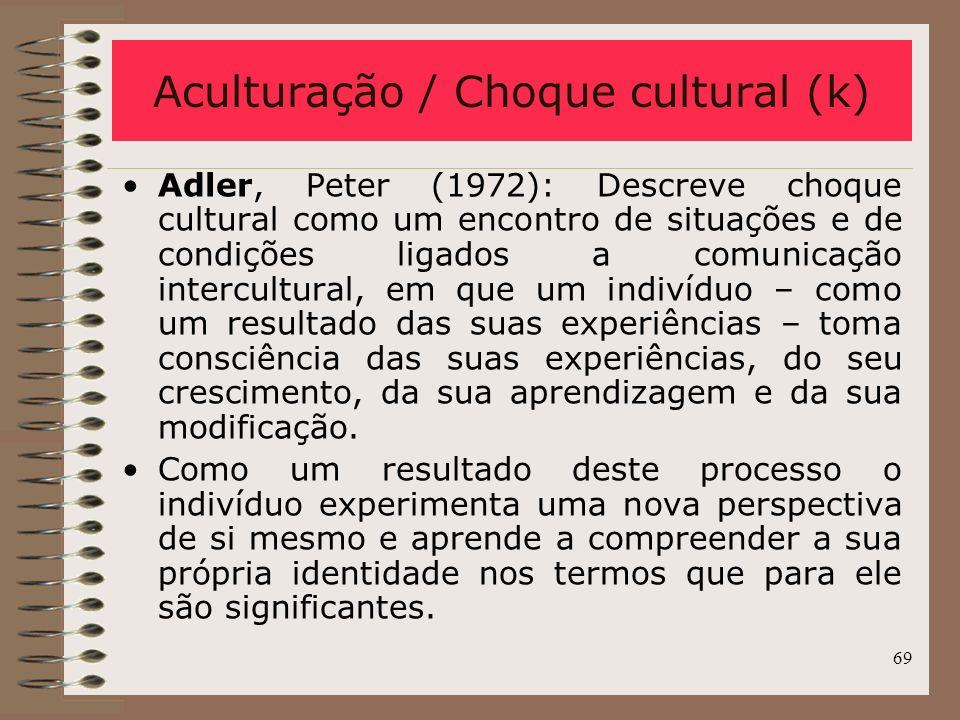 Aculturação / Choque cultural (k)