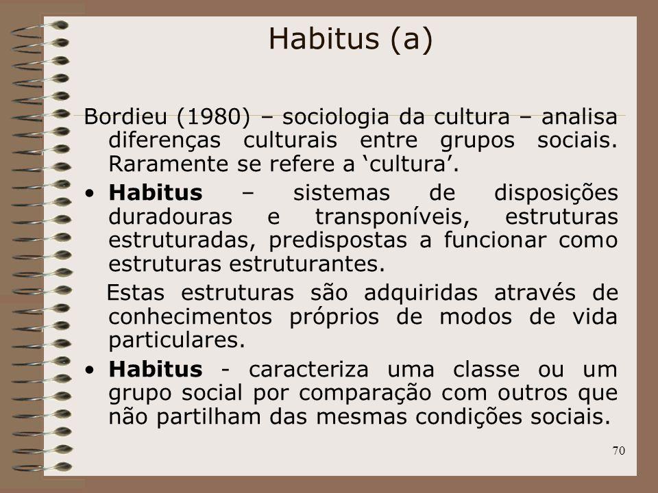 Habitus (a) Bordieu (1980) – sociologia da cultura – analisa diferenças culturais entre grupos sociais. Raramente se refere a 'cultura'.