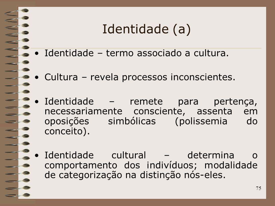 Identidade (a) Identidade – termo associado a cultura.