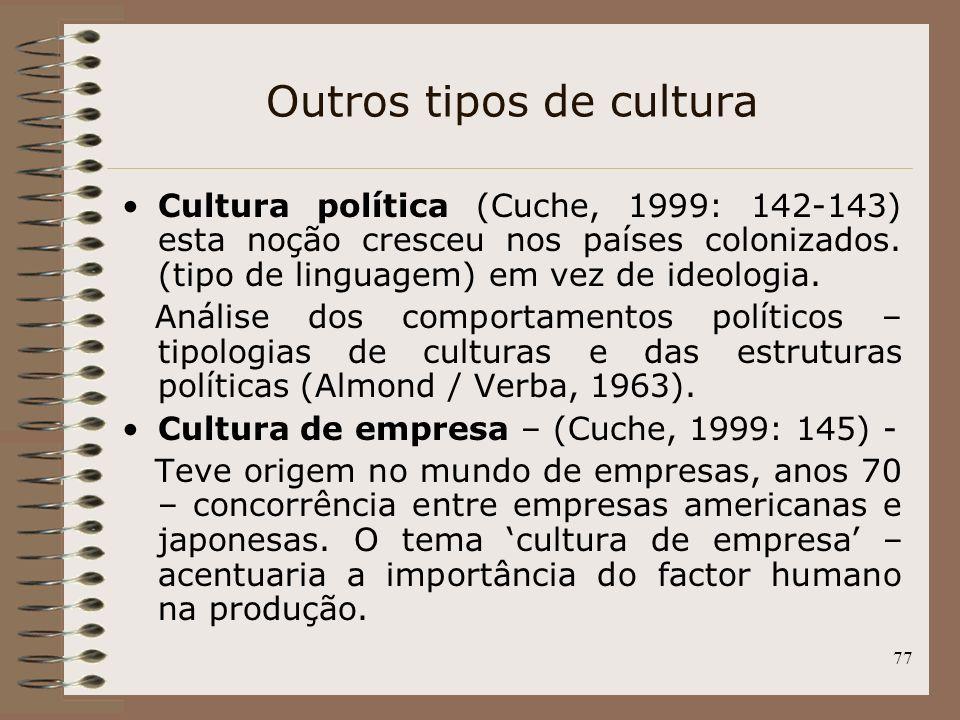 Outros tipos de cultura