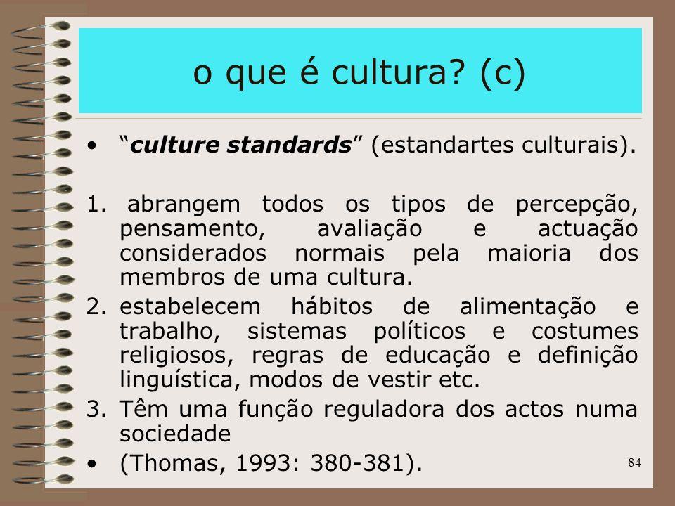 o que é cultura (c) culture standards (estandartes culturais).