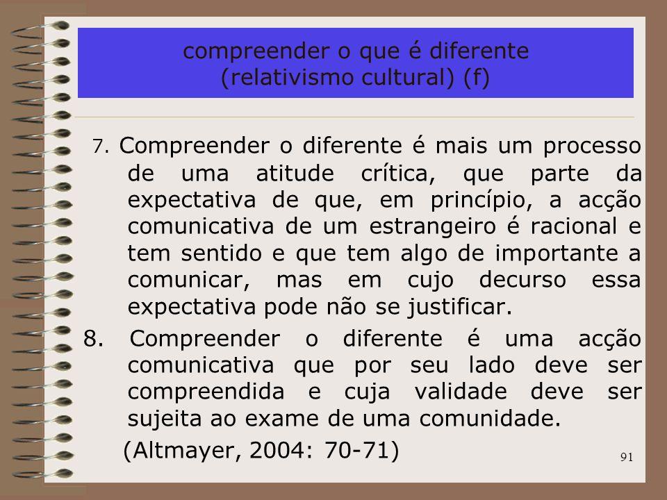 compreender o que é diferente (relativismo cultural) (f)