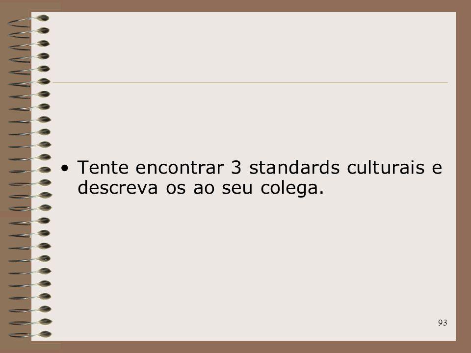 Tente encontrar 3 standards culturais e descreva os ao seu colega.