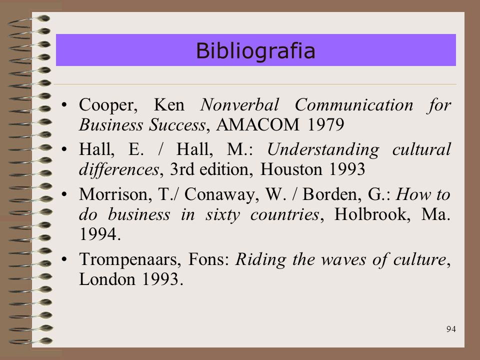 Bibliografia Cooper, Ken Nonverbal Communication for Business Success, AMACOM 1979.