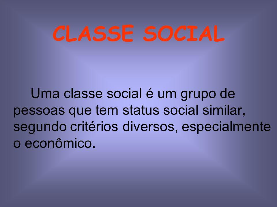 CLASSE SOCIAL Uma classe social é um grupo de pessoas que tem status social similar, segundo critérios diversos, especialmente o econômico.
