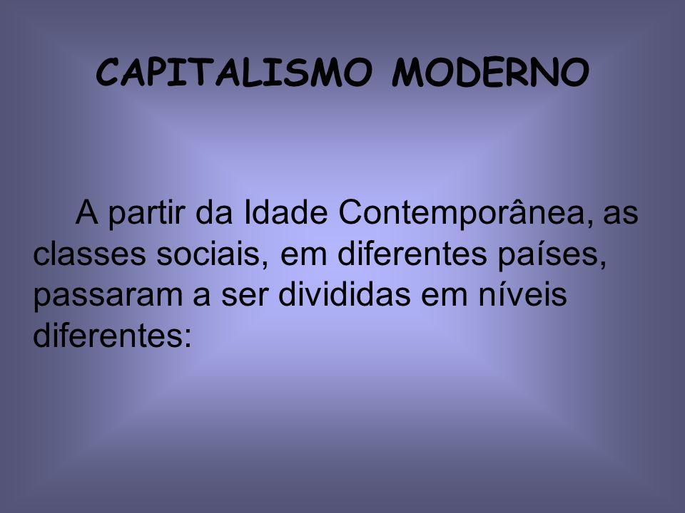 CAPITALISMO MODERNO A partir da Idade Contemporânea, as classes sociais, em diferentes países, passaram a ser divididas em níveis diferentes: