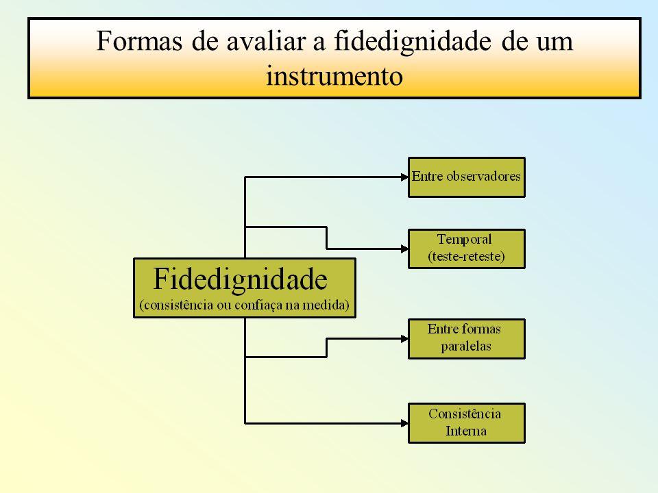 Formas de avaliar a fidedignidade de um instrumento