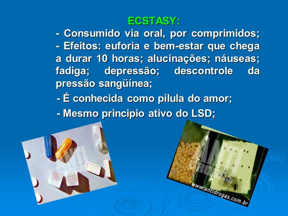 ECSTASY: - Consumido via oral, por comprimidos; - Efeitos: euforia e bem-estar que chega a durar 10 horas; alucinações; náuseas; fadiga; depressão; descontrole da pressão sangüínea;