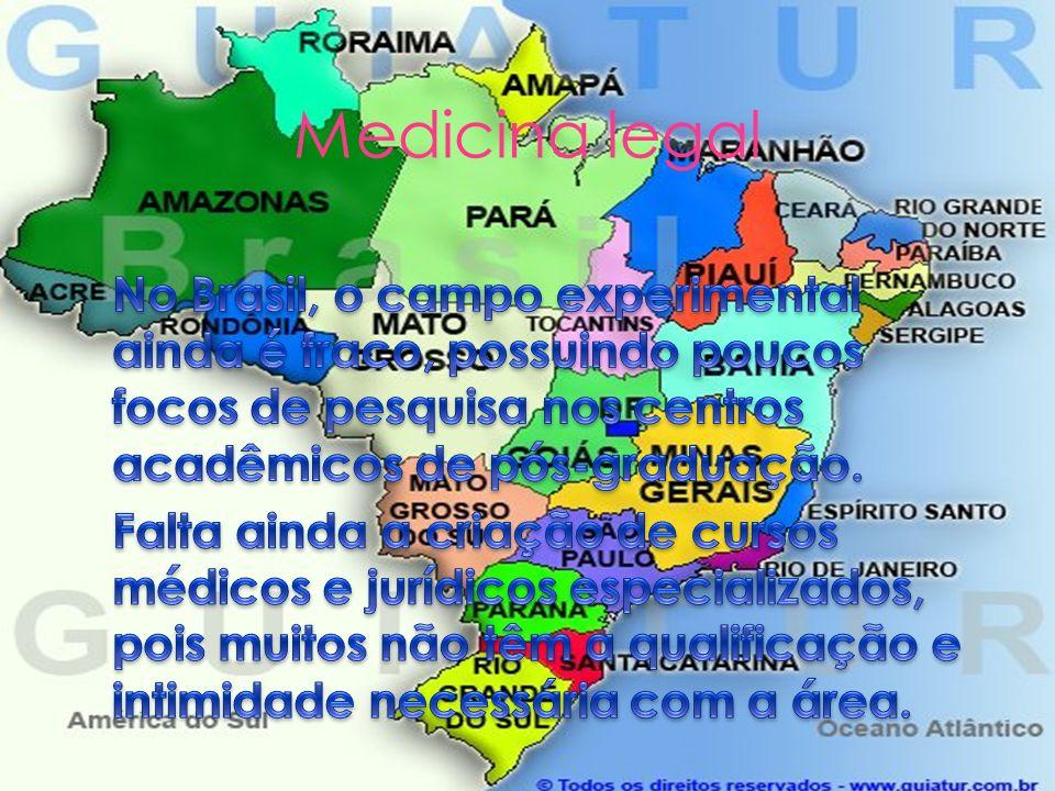 Medicina legal No Brasil, o campo experimental ainda é fraco, possuindo poucos focos de pesquisa nos centros acadêmicos de pós-graduação.