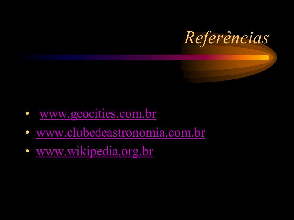 Referências www.geocities.com.br www.clubedeastronomia.com.br