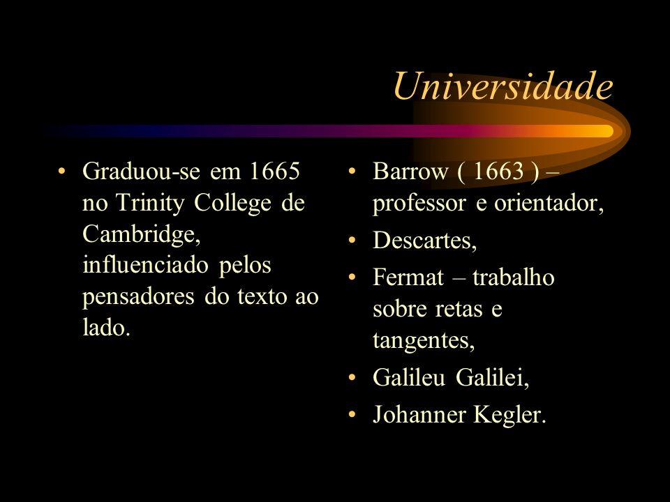 UniversidadeGraduou-se em 1665 no Trinity College de Cambridge, influenciado pelos pensadores do texto ao lado.