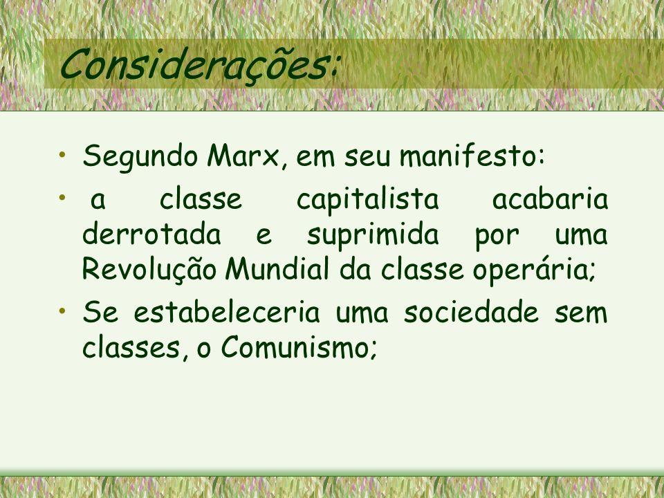 Considerações: Segundo Marx, em seu manifesto: