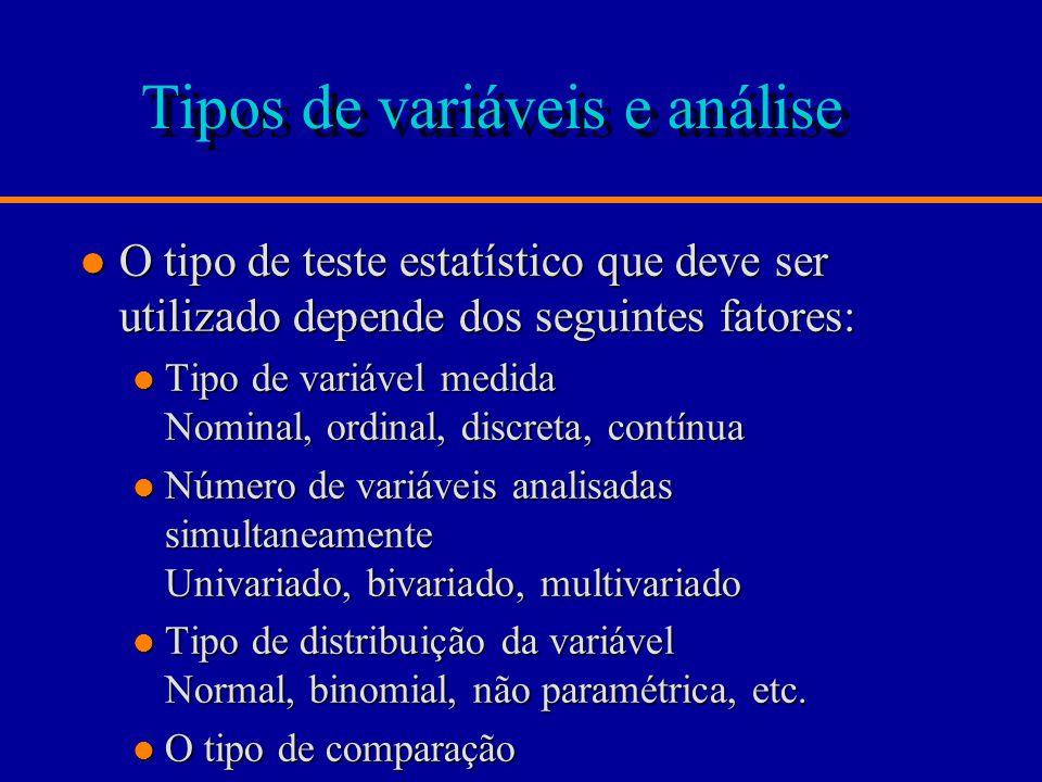 Tipos de variáveis e análise