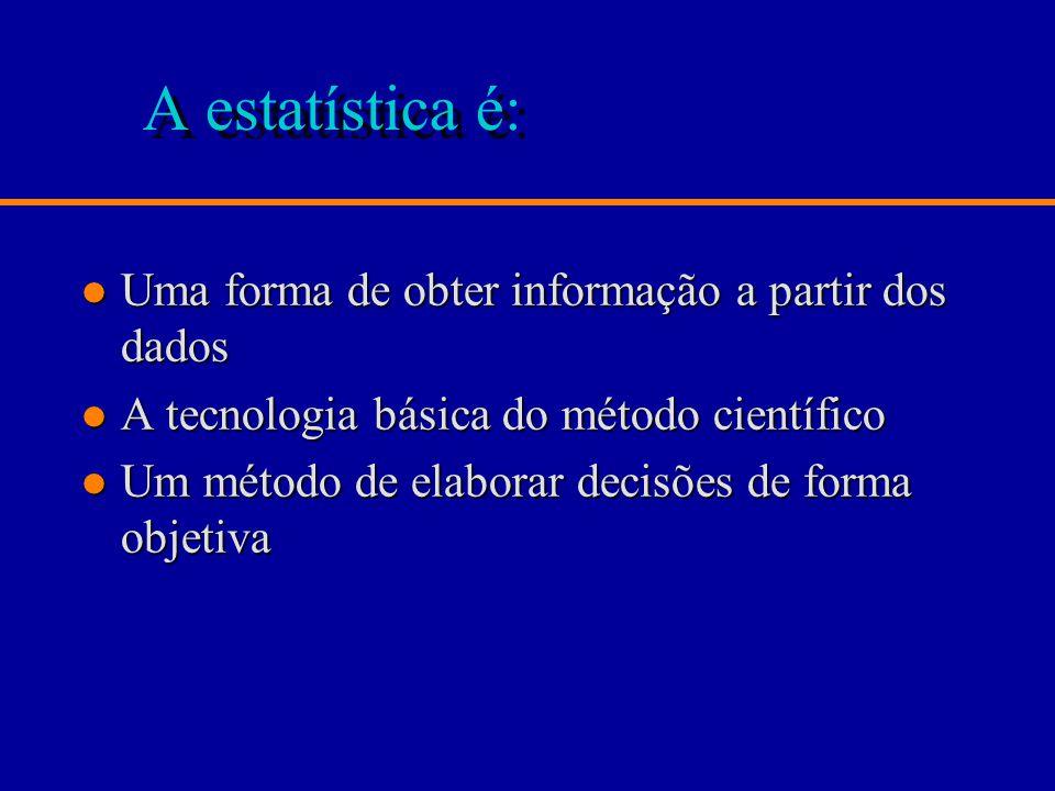 A estatística é: Uma forma de obter informação a partir dos dados