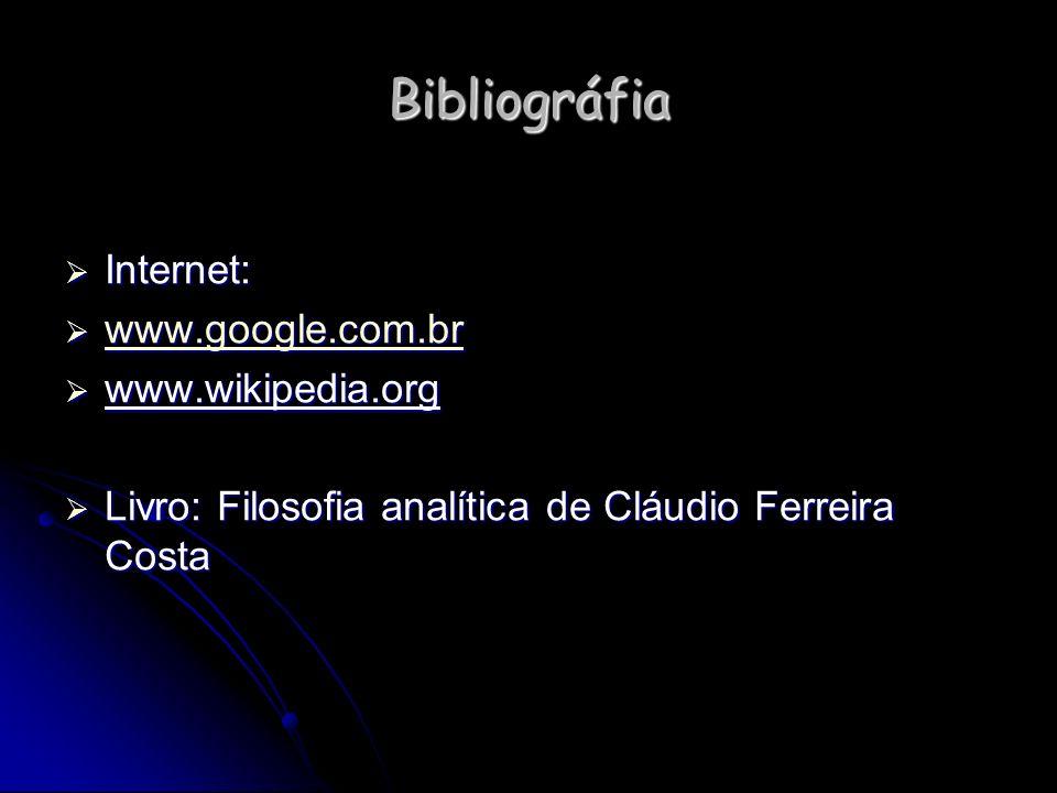 Bibliográfia Internet: www.google.com.br www.wikipedia.org