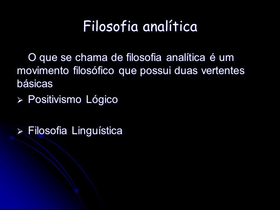 Filosofia analíticaO que se chama de filosofia analítica é um movimento filosófico que possui duas vertentes básicas.