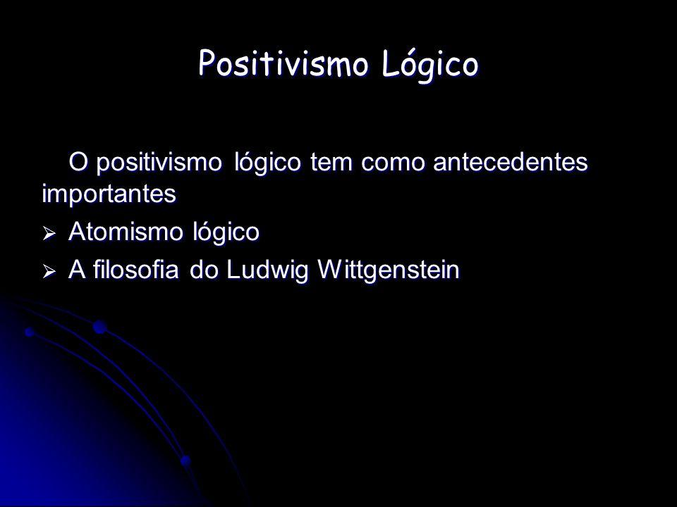 Positivismo Lógico O positivismo lógico tem como antecedentes importantes.
