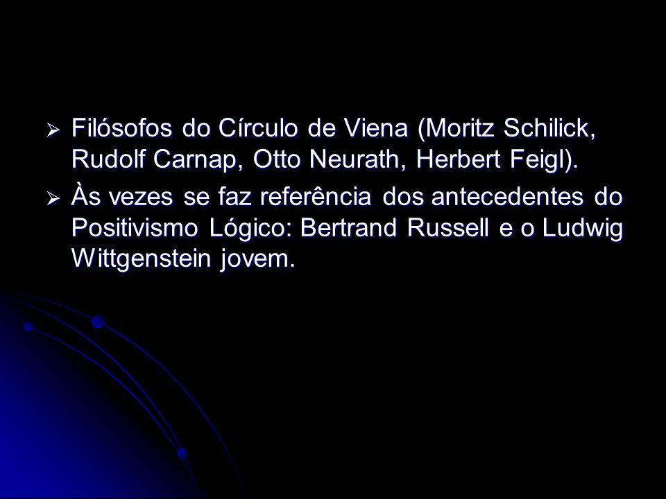Filósofos do Círculo de Viena (Moritz Schilick, Rudolf Carnap, Otto Neurath, Herbert Feigl).
