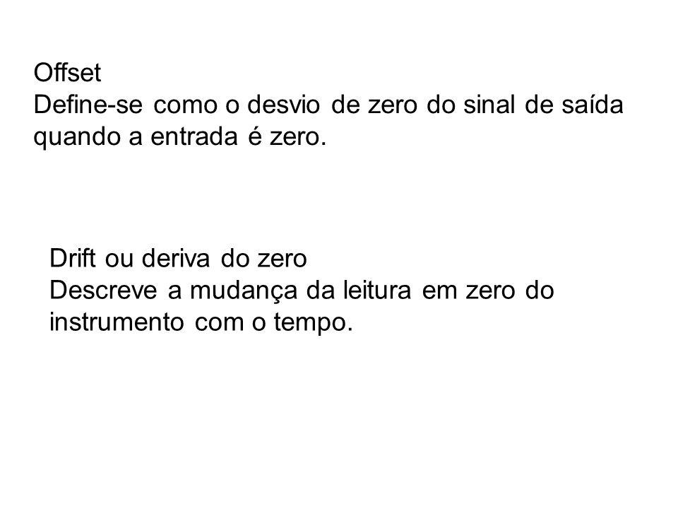 Offset Define-se como o desvio de zero do sinal de saída quando a entrada é zero. Drift ou deriva do zero.