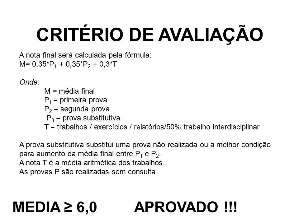 CRITÉRIO DE AVALIAÇÃO MEDIA ≥ 6,0 APROVADO !!!