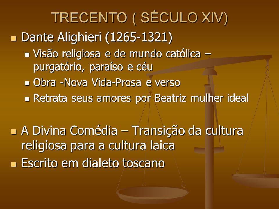 TRECENTO ( SÉCULO XIV) Dante Alighieri (1265-1321)
