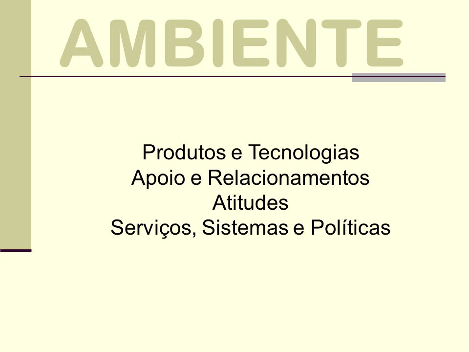AMBIENTE Produtos e Tecnologias Apoio e Relacionamentos Atitudes