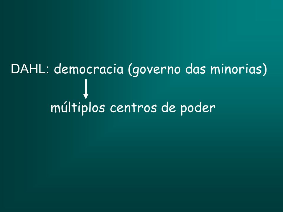 DAHL: democracia (governo das minorias)