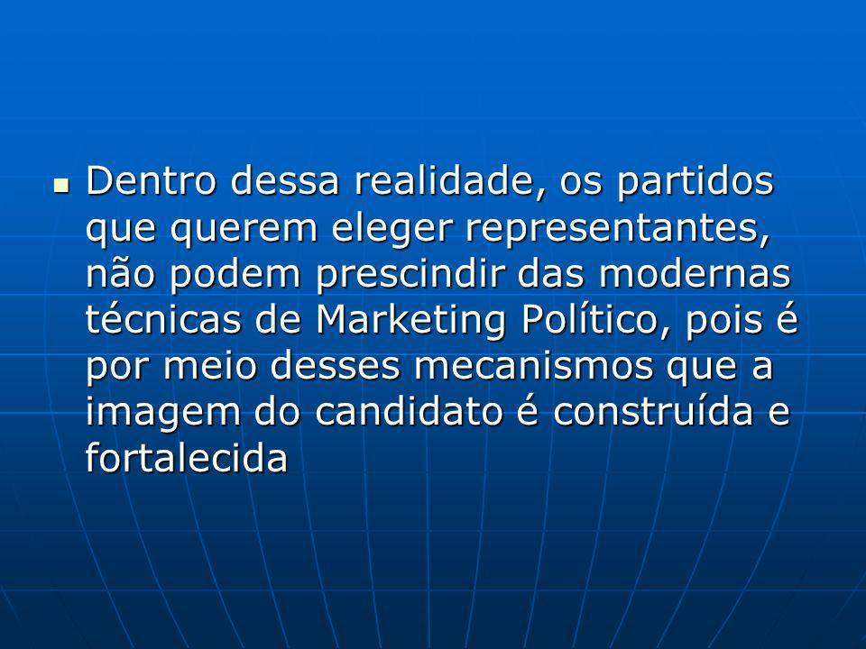 Dentro dessa realidade, os partidos que querem eleger representantes, não podem prescindir das modernas técnicas de Marketing Político, pois é por meio desses mecanismos que a imagem do candidato é construída e fortalecida