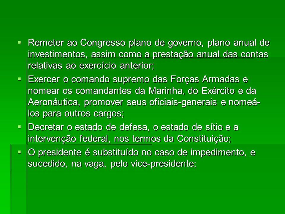 Remeter ao Congresso plano de governo, plano anual de investimentos, assim como a prestação anual das contas relativas ao exercício anterior;