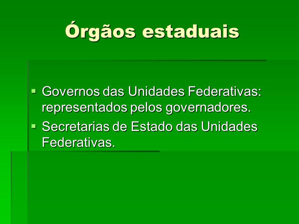 Órgãos estaduais Governos das Unidades Federativas: representados pelos governadores.