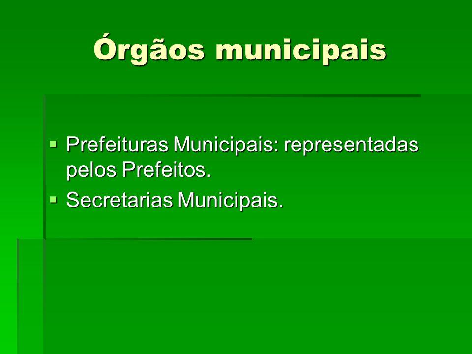 Órgãos municipais Prefeituras Municipais: representadas pelos Prefeitos. Secretarias Municipais.