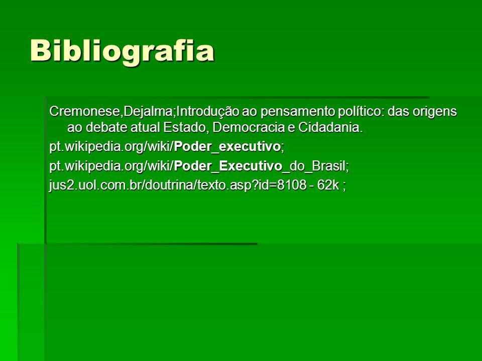 Bibliografia Cremonese,Dejalma;Introdução ao pensamento político: das origens ao debate atual Estado, Democracia e Cidadania.