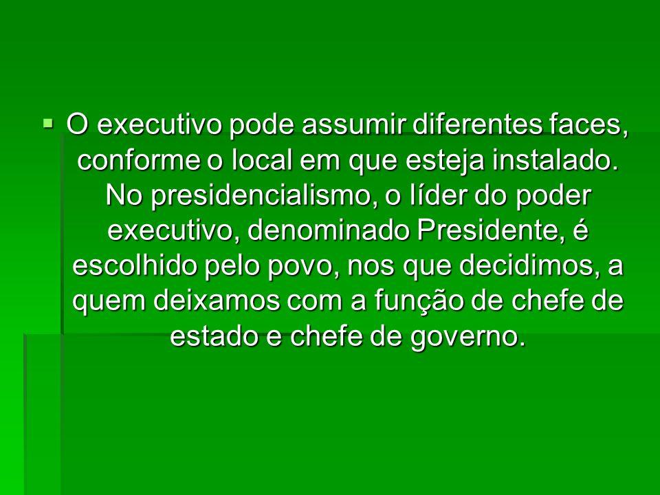O executivo pode assumir diferentes faces, conforme o local em que esteja instalado.