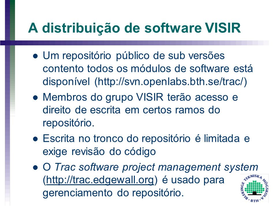 A distribuição de software VISIR