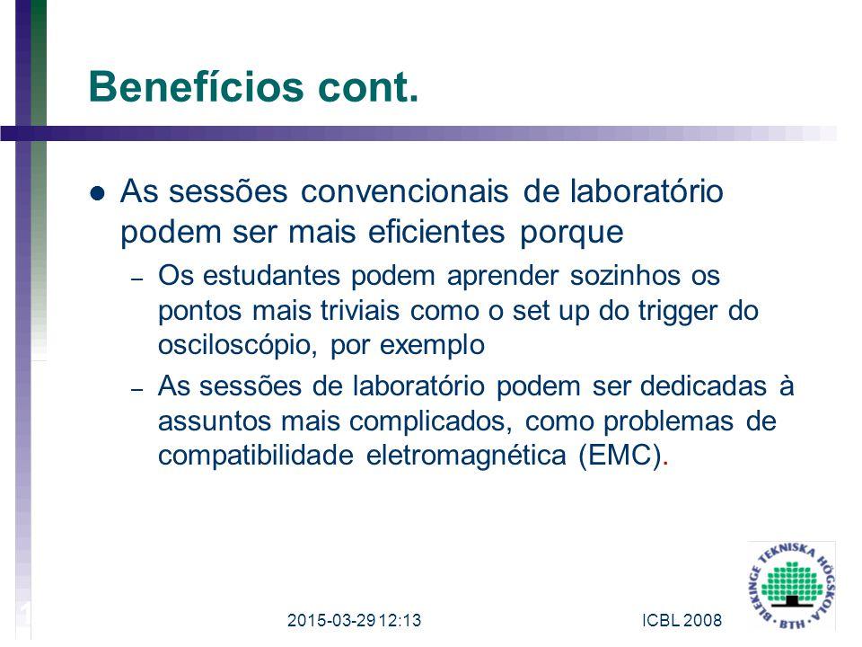2017-04-08 Benefícios cont. As sessões convencionais de laboratório podem ser mais eficientes porque.