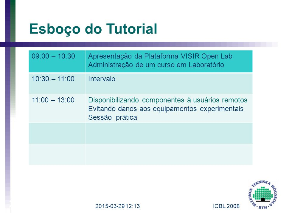 Esboço do Tutorial 09:00 – 10:30. Apresentação da Plataforma VISIR Open Lab. Administração de um curso em Laboratório.