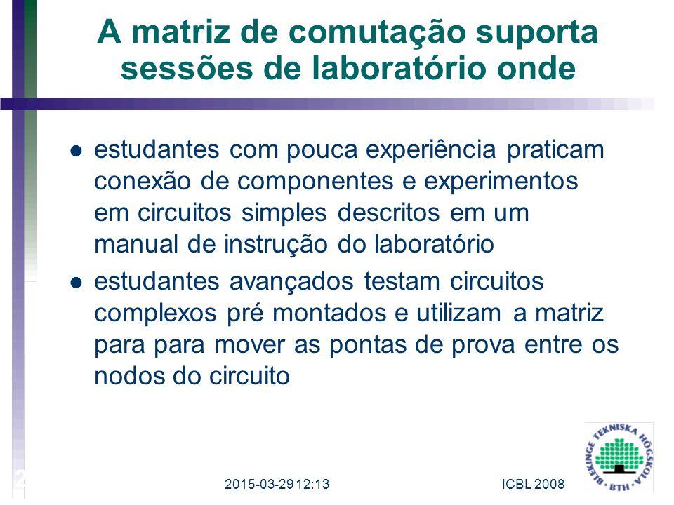 A matriz de comutação suporta sessões de laboratório onde