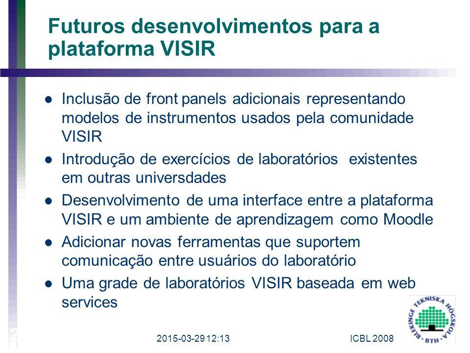 Futuros desenvolvimentos para a plataforma VISIR