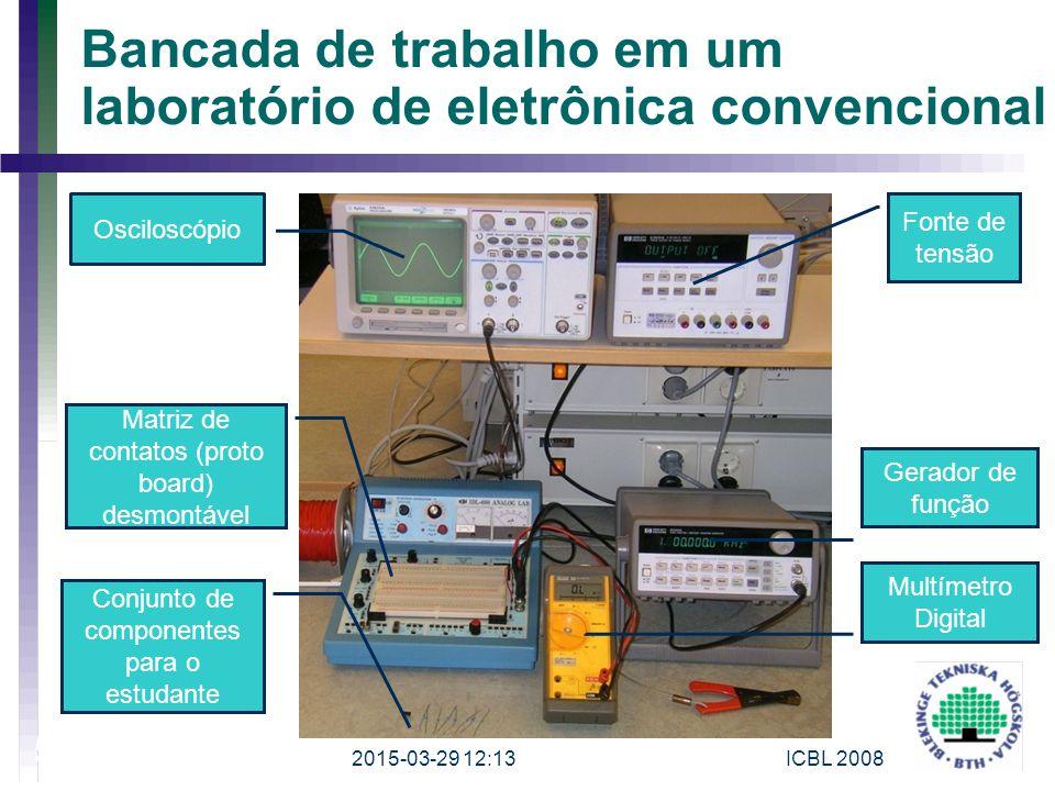 Bancada de trabalho em um laboratório de eletrônica convencional