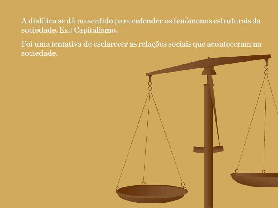 A dialítica se dá no sentido para entender os fenômenos estruturais da sociedade. Ex.: Capitalismo.